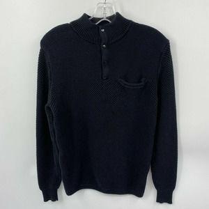 J.CREW Mixed Garter Seed Stitch 4-Button Sweater